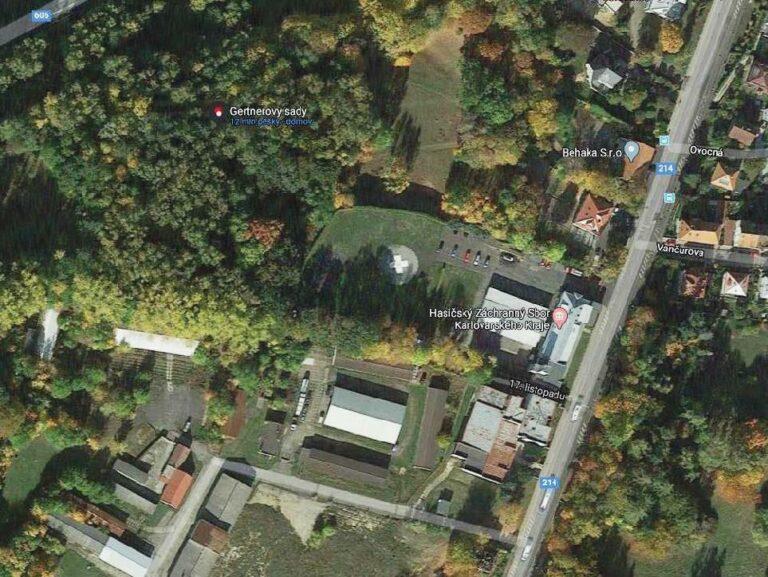 Letecký snímek Gernerových sadů