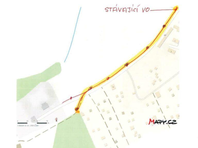 mapa s umístěním lamp veřejného osvětlení