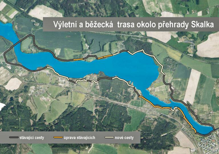 Výletní a běžecká trasa okolo přehrady Skalka
